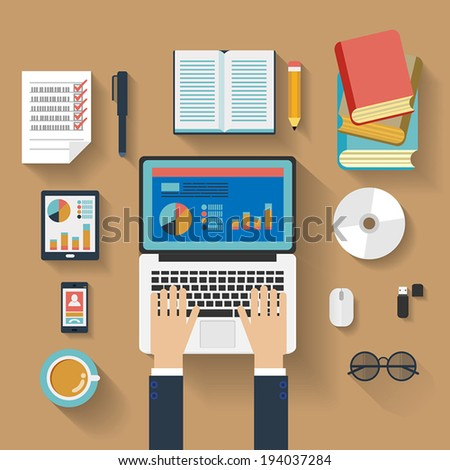 Flat design stylish vector illustration of routine organization of modern business workspace in the office.