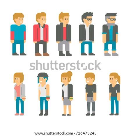 Flat design teen students set illustration vector