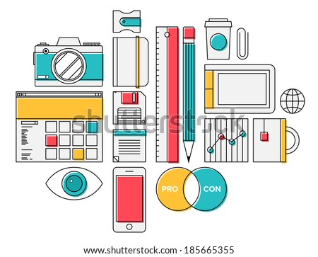 trendy office supplies. Flat Design Thin Line Icons Modern Style Illustration Vector Set Of Trendy Office Supplies And Business T