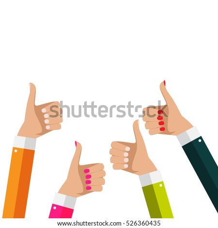 Flat Design Thumbs Up Background . Vector Illustration EPS10