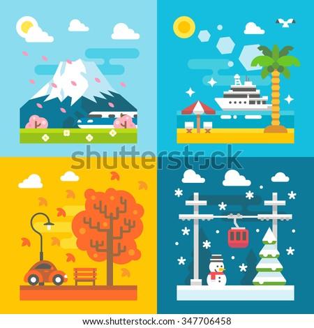 Flat design travel seasons set illustration vector