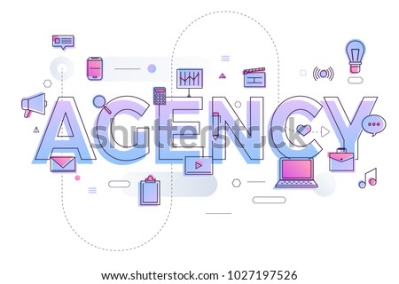 "Flat design typography concept ""AGENCY"". building text with thin line icon and graphic layout. Vector illustration."