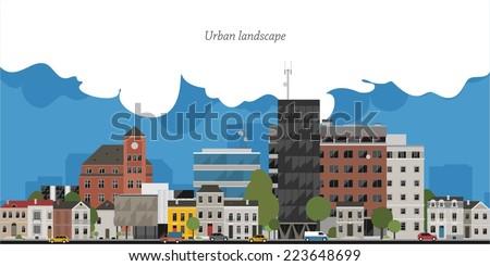 flat design urban landscape...