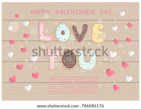 flat design valentine's card