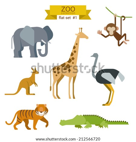 flat design vector animals icon
