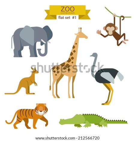 Flat design vector animals icon set. Elephant, giraffe, monkey, ostrich, kangaroo, tiger,  crocodile. Flat zoo children cartoon collection.
