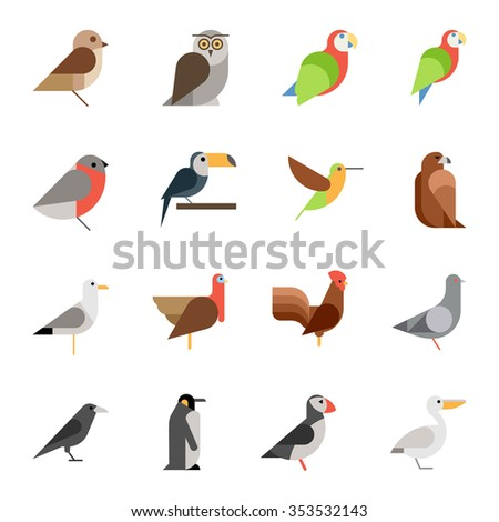 flat design vector birds icon