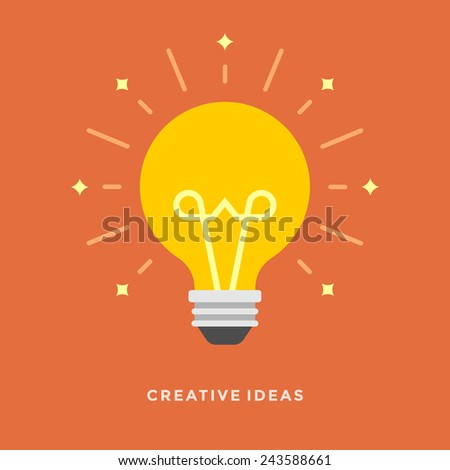 Flat design vector business illustration concept Creative idea with light lamp bulb for website and promotion banners.