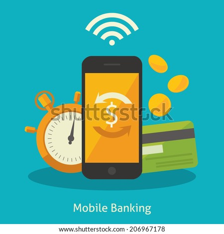 Flat design vector colored illustration concept for mobile banking and online payment isolated on bright background