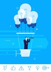 Flat design vector concept illustration. Businessman holding the right course. Businessman flying in a balloon with lamps of ideas. Vector clipart. Icons set.
