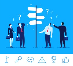 Flat design vector concept illustration. Businessmen and businesswomen standing at a crossroads. Decision-making. An important decision for the success of. Good profit. Vector clipart. Icons set.