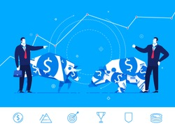 Flat design vector concept illustration. The confrontation of the two sides. Bull and bear standing next to businessmen. Vector clipart. Icons set.