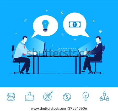 Flat design vector concept illustration. Two businessman discuss good deal. Exchange of ideas on the money.  Good profit. Vector clipart. Icons set.