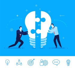 Flat design vector concept illustration. Two businessmen unite lamp of the puzzle.  Joining forces, the birth of a new idea . Vector clipart. Icons set.