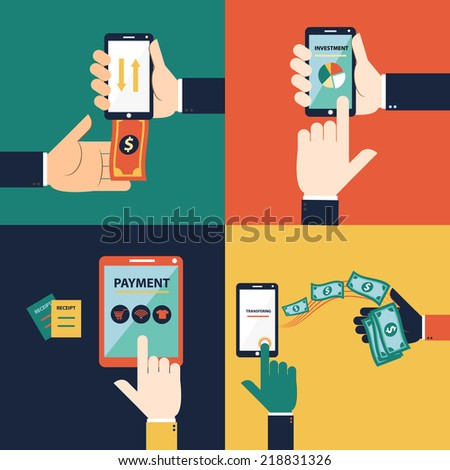 Flat design vector concept of mobile banking or online banking. This set consist of withdraw money, deposit money, Transferring Money and payment