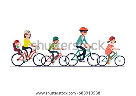 Flat design vector concept on family recreation and activities. Large family riding bikes. Father, siblings, mother with toddler riding bicycles. Parents with their kids enjoying free time together