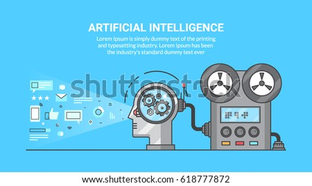 Flat design vector for artificial intelligence, machine learning process, super computer technology isolated on blue background