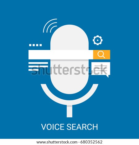 Shutterstock Flat design vector for voice search, search by voice application with icons isolated on blue background