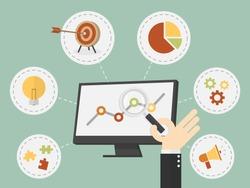 Flat design vector illustration business analysis, SEO