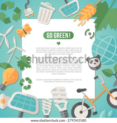 Flat design vector illustration concept for ecology, recycling and green technology. Solar green energy, wind energy. Save the planet concept. Go green. Save the Earth. Earth Day. - stock vector