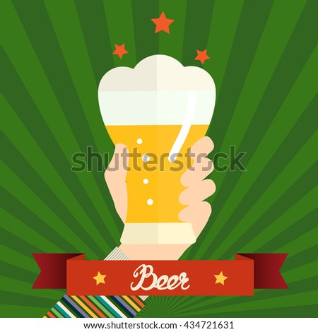 Flat design vector illustration concept for oktoberfest. Hand hold beer can. Vector design template for card, letter, banner, flyer. Can by used to promote your products and services.