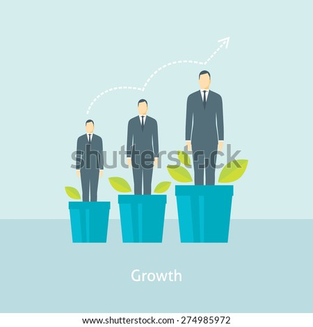 Flat design vector illustration concept for personal development, professional growth, human resources management, career achievements isolated on bright background
