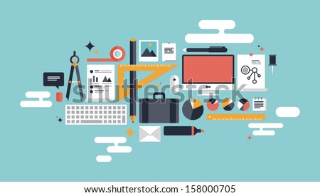 Flat design vector illustration concept icons set of business working elements for development and management of computer technologies. Isolated on stylish color background.