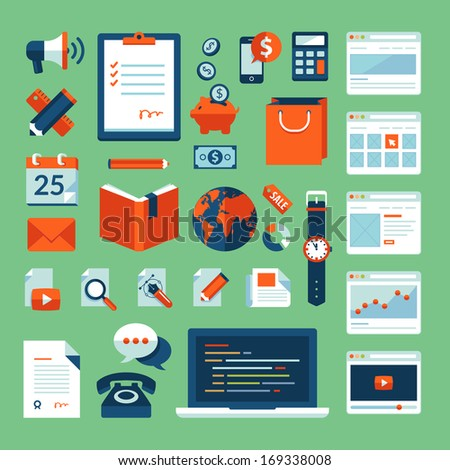 Flat design vector illustration concept icons set of business working elements for web design, e-commerce, mobile app, digital marketing, programming, seo, office, communication, finance.