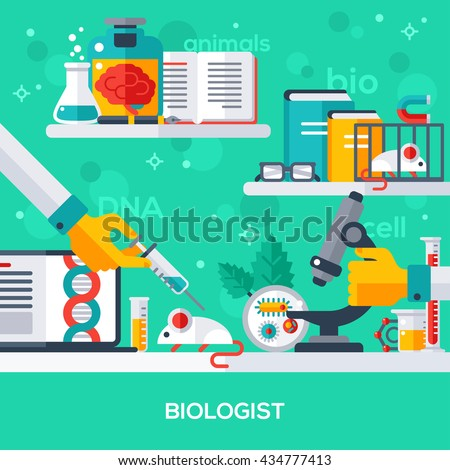 Flat design vector illustration concept of biologist workplace. Hand holding syringe, make injection, animal testing. Microscopic research.