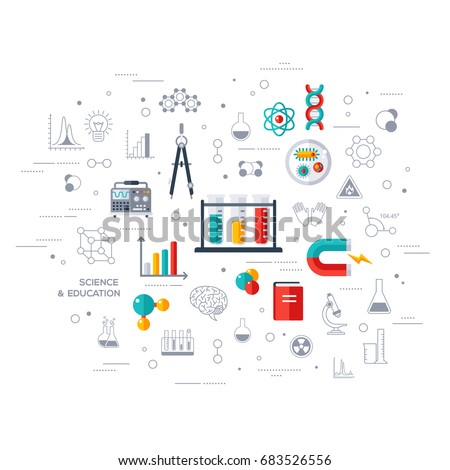 Flat design vector illustration concept of education and science. Concept for web banners and promotional materials. Science Lab, Testing, Analysis, Scientific Research, Chemical Experiment.