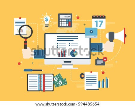 Flat design vector illustration concept of financial investment, analytics with growth report. Calculations and graphs of gains on the stock market and real cash earnings. Successful business.