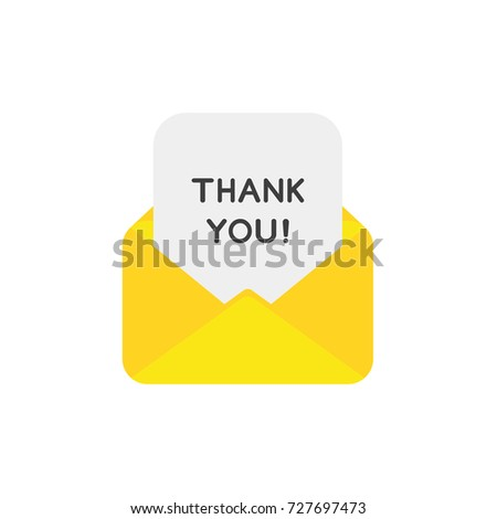 Flat design vector illustration concept of yellow open envelope mail or message symbol icon with thank you written on paper.