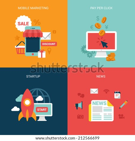 Flat design vector illustration concept process icons set of modern mobile marketing pay per click startup business news Big flat processes collection