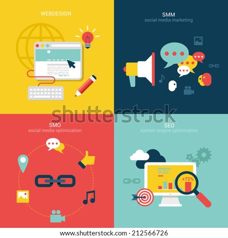 Flat design vector illustration concept process icons set of modern webdesign, seo, smo and smm. New trend social media and online promotion search engine optimization. Big flat processes collection.