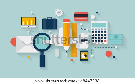 Flat design vector illustration infographic concept with icons set of modern business working elements, finance paperwork objects and financial planning for development business project.