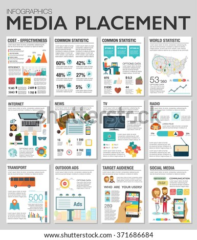 Flat design vector illustration infographics concept process icons set of modern webdesign, media placement, smm. New trend social media and online promotion search engine optimization