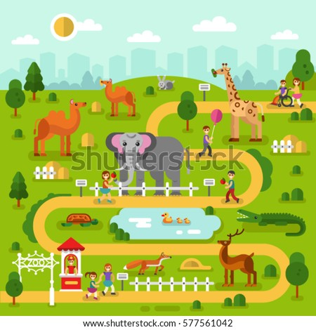 Flat design vector illustration of animals in the Zoo, infographics map concept. Elephant, fox, giraffe, deer, camel, rabbit, turtle, crocodile. Boys and girls walking and feed them.