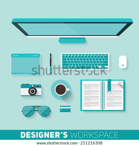 Flat design vector illustration of designers workspace. Top view of desk background with computer, pen tablet and office objects with long shadows