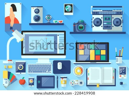 Flat design vector illustration of modern creative office workspace,workplace of designer. The office of a creative worker. Flat minimalistic style and color with long shadows