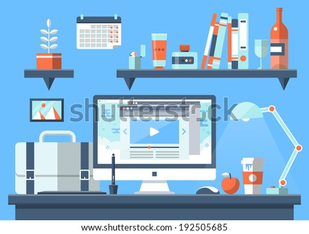 Flat design vector illustration of modern creative office workspace workplace with computer The office of a creative worker Flat minimalistic style and color with long shadows Office interior