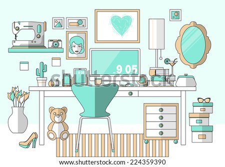 Flat design vector illustration of modern girl, woman, lady, female creative office workspace, workplace with computer. Creative worker. Items and elements, office things, equipment, objects