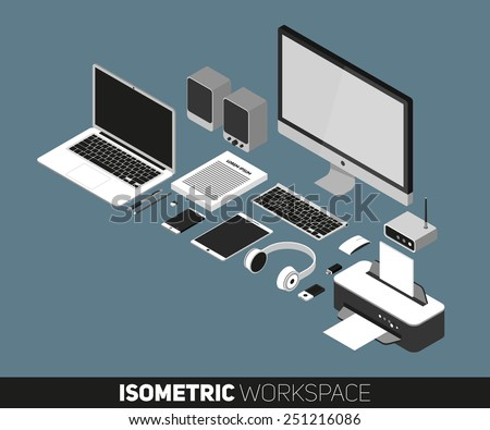 Flat design vector illustration of office workspace. Isometric view of desk background with laptop, office objects, notebook and documents with long shadows