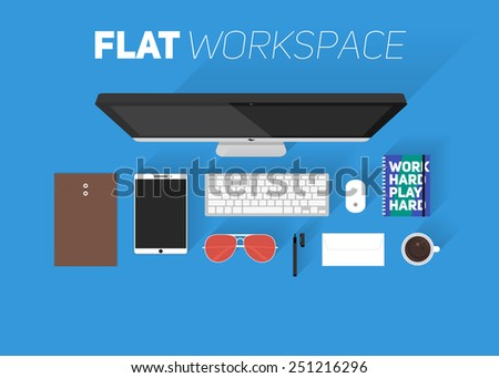 Flat design vector illustration of office workspace. Top view of desk background with computer, office objects, notebooks and documents with long shadows