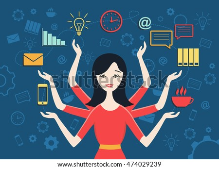 Flat design vector illustration of personal assistant or secretary managing her work with smile