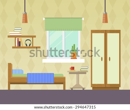 Flat Design Vector Illustration Of Room Interior With Bed Wardrobe Window And Lamp