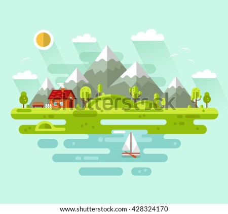 flat design vector nature