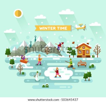 Flat design vector nature winter landscape illustration with house, skiing and ice skating, fishing, snowman, bench, mountains, trees, snowflakes. Airplane with banner. Winter time, resort concept.