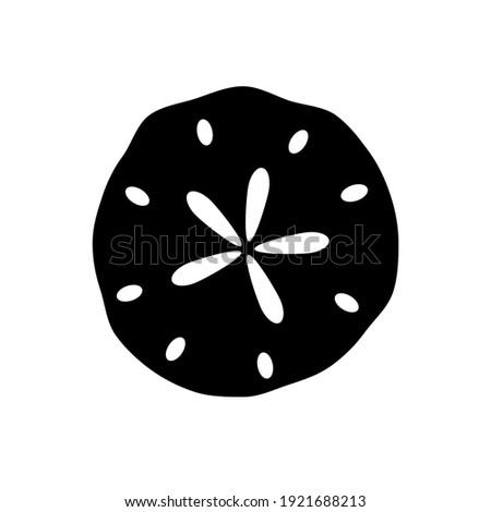 Flat Design Vector Sand Dollar Icon, Black and White Shape. Nautical Marine Symbol Vector Illustration. Isolated Seashell Sign. Logo Design, Business Element.