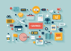 Flat design vector stylish illustration concept with icons of retail commerce and marketing elements such as promotion, coupon, discount with various shopping and money economy sign and symbol.