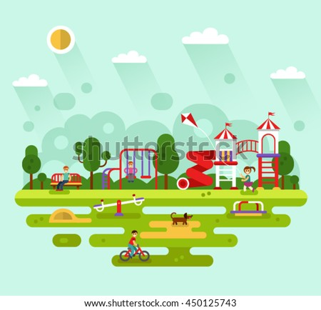 Flat design vector summer landscape illustration of park with kids playground and equipment with swings, slides and tube, carousel. Cyclist, dog, bench, girl with kite. Amusement park for children.